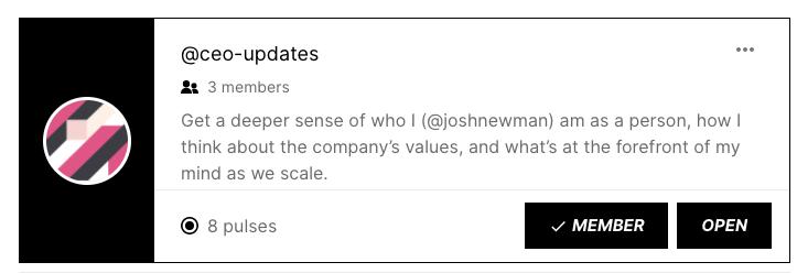 CEO Weekly Update Stream in Pulse